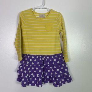 HANNA ANDERSSON Yellow & Purple Tiered Girls Dress